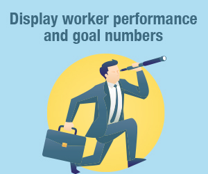 Display worker performance goals with digital signage