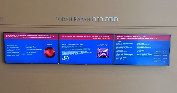The Merage Jewish Community Center Displays Digital Donor Recognition Wall